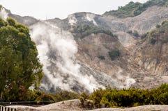 喷气孔活跃vulcano硫质喷气孔植被和火山口墙壁  图库摄影