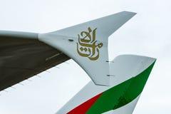 喷气式客机空中客车A380细节在酋长管辖区航空公司的原始的颜色的 库存图片