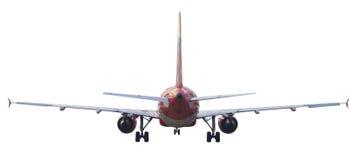 喷气式客机飞机背面图隔绝了白色 免版税库存照片