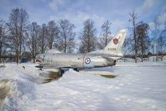 喷气式歼击机被陈列的外部博物馆 免版税库存图片