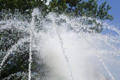 喷气机喷泉在一热的天 库存图片