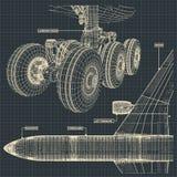 喷气机在减速火箭的样式的班机图画 库存照片