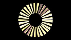 喷气机引擎抽象转动的刀片在黑背景,无缝的圈的 o 转动黑色的黄色光芒 库存例证