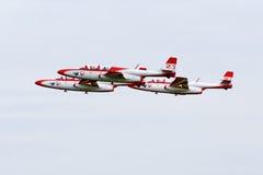 喷气机特技小组TS-11 Iskra -在飞行中。 免版税库存图片