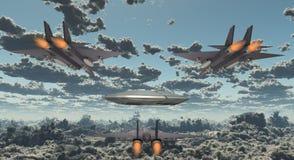 喷气机追求飞碟 皇族释放例证