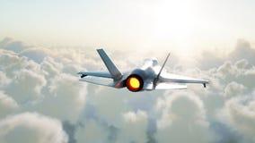 喷气机,飞行在云彩的战斗机 战争和武器概念 3d翻译 免版税库存照片