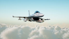 喷气机,飞行在云彩的战斗机 战争和武器概念 3d翻译 库存图片