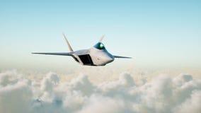 喷气机,飞行在云彩的战斗机 战争和武器概念 3d翻译 免版税库存图片