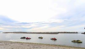 喷气机滑雪在海 免版税图库摄影