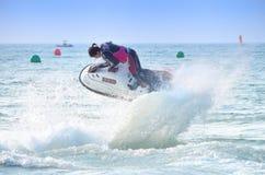 喷气机滑雪自由式竞争 免版税库存图片