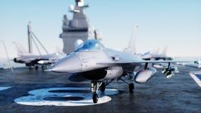 喷气机F-16,在航空母舰的战斗机在海,海洋 战争和武器概念 3d翻译 图库摄影