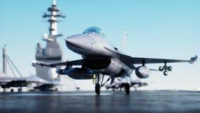 喷气机F-16,在航空母舰的战斗机在海,海洋 战争和武器概念 现实4K动画 库存例证