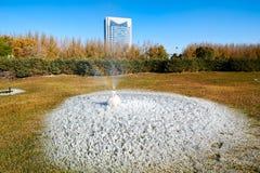 喷水的注射器和冰和buildingd在草坪在公园 免版税库存照片