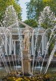 喷泉亚当 喷泉复合体在Peterhof 库存图片