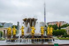 喷泉人` `友谊和奥斯坦基诺电视耸立 库存图片