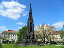 喷泉叫Krannerova,老镇,布拉格,捷克共和国 库存图片