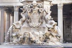 喷泉和万神殿方形的Rotonda的(建筑师Giaco 库存图片