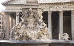 喷泉和万神殿方形的Rotonda的(建筑师Giaco 免版税库存图片