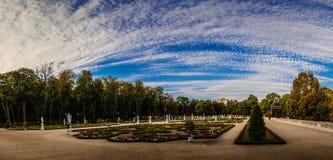 喷泉和庭院在Branicki宫殿附近在Bialystok 库存图片