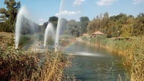 喷泉和彩虹的浪花 库存照片