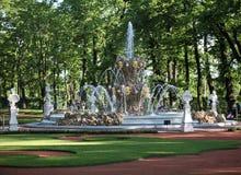 喷泉和规则式园林 图库摄影