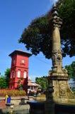 喷泉和钟楼 库存图片