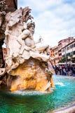 喷泉四河在纳沃纳广场,城市广场在罗马,意大利 免版税库存照片