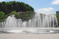 喷泉在一个夏天庭院里在莫斯科 库存图片