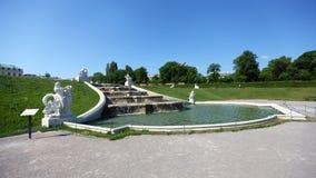 喷泉在上部眺望楼庭院里  库存图片