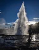喷泉在冰岛 库存图片