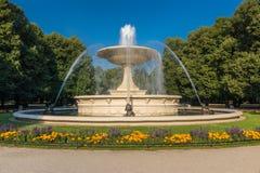 喷泉在华沙 库存照片