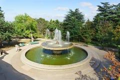 喷泉在历史的大道的公园 库存图片
