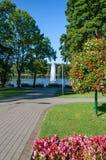 喷泉在城市公园 免版税图库摄影
