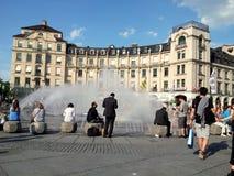 喷泉在慕尼黑,德国 免版税库存照片