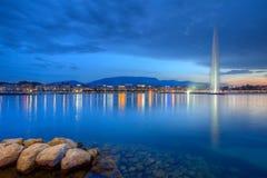 喷泉在日内瓦,瑞士, HDR 免版税库存照片