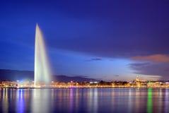 喷泉在日内瓦,瑞士, HDR 免版税库存图片