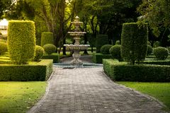 喷泉在有坚硬阳光的公园 绿色与浓缩的地面的灌木墙壁自然纹理背景 库存照片
