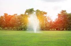 喷泉在有爆炸光的公园 库存图片