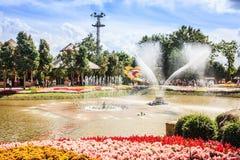 喷泉在池塘 免版税图库摄影