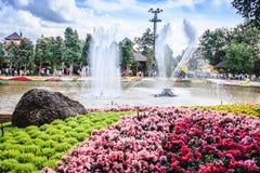 喷泉在池塘 库存图片