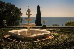 喷泉在沃龙佐夫宫殿在克里米亚乌克兰 免版税图库摄影