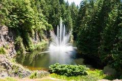 喷泉在沉园附近的池塘 免版税库存照片