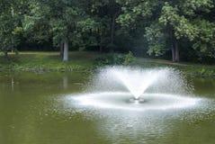 喷泉在湖 库存图片