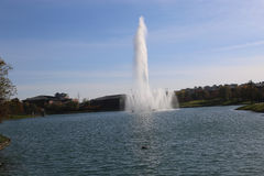 喷泉在湖 库存照片