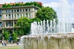 喷泉在米兰,意大利 免版税库存照片