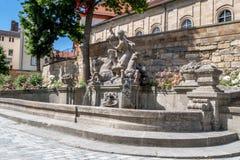 喷泉在老镇拜罗伊特 图库摄影
