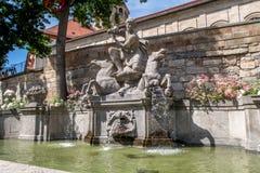 喷泉在老镇拜罗伊特 库存图片