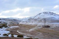喷泉在阿塔卡马沙漠的el Tatio,智利 库存照片