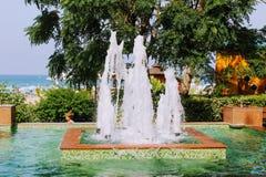 喷泉在阿塔图尔克阿拉尼亚,土耳其100th周年的公园  免版税库存照片