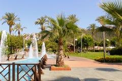 喷泉在阿塔图尔克阿拉尼亚,土耳其100th周年的公园  库存照片